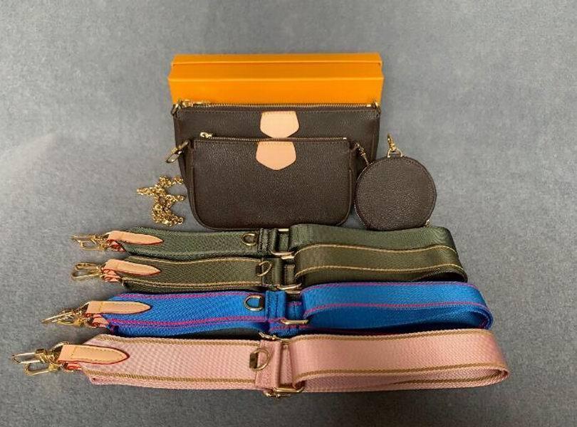 Yeni Crossbody Hakiki Pockette Çanta Moda Accessoires Çok Favori 3 adet Çantalar Çanta Mini Pochette Deri Kadın Çiçek Omuz DQXT