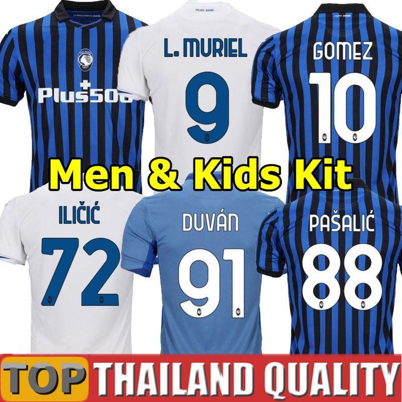 20 21 Atalanta B.C. Camisetas de futebol MURIEL GOMEZ 2020 2021 DUVAN GOSENS Camisa de futebol ILICIC PASALIC MIRANCHUK LAMMERS Homens Kit Infantil uniforme