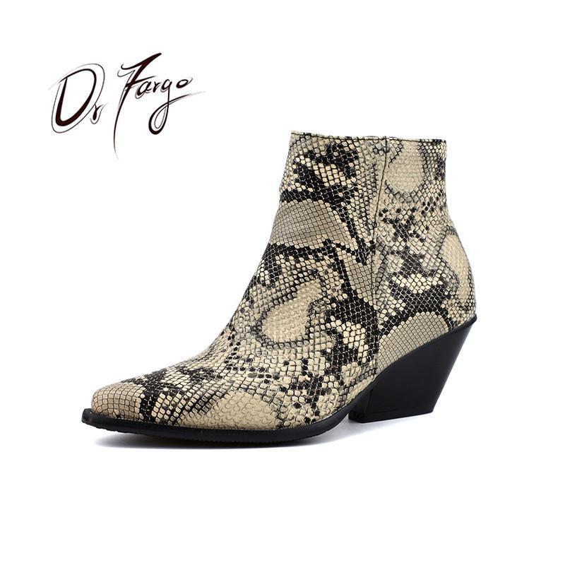 Botas Drfargo Zapatos Mujeres Snake Piel Pattern Tobillo para Vestido de Moda Bloque de vaquero Cuerpo de tacón alto Chunky