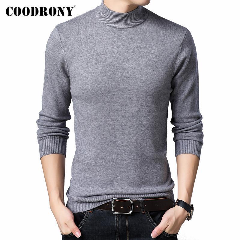 Coodrony Hommes Vêtements Automne Hiver Nouveautés Couleur Pure Couleur Casual Casual Soft Tricoté épais Tour de turtleneck pull pull