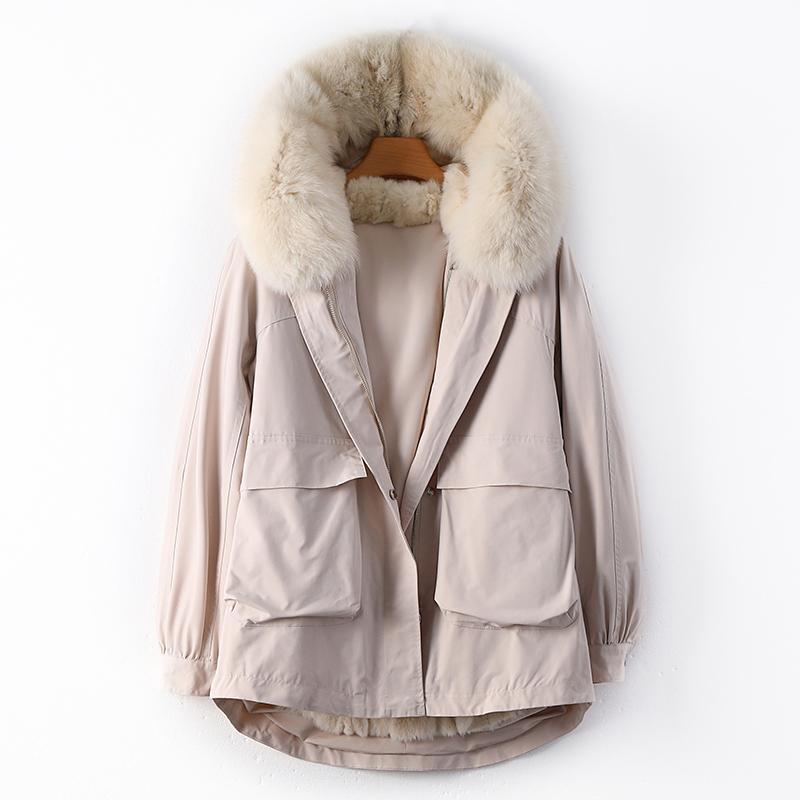 Forro de piel de conejo extraíble real Dos trozos más gruesos abajo de la chaqueta de invierno femenina Piel de gran tamaño con capucha caliente F876 Abrigos