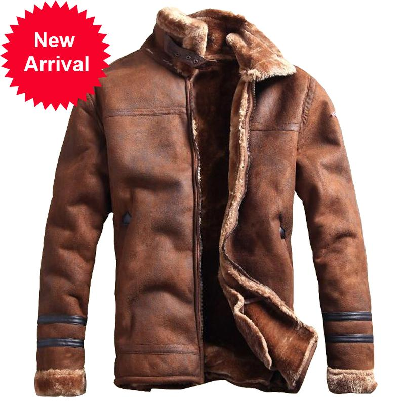 Russian Style Winter Jacket Casual Fashion Streewear Mens Faux Fur Leather Jackets Overcoat Velvet C235