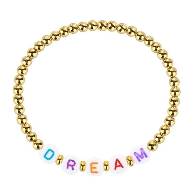 Braccialetto della lettera di Kelitch Bracciale d'oro Braccialetto con perline Braccialetto Boemo fatto a mano Modo gioielli preziosi regalo
