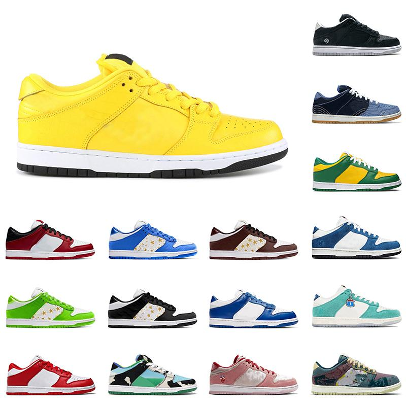 nike sb dunk low Designer Mens Femmes dunk CANARIES DIAMOND Chunky Dunky Chicago Blanc Off Chaussures Baskets sport Chaussures de sport Taille 36-45