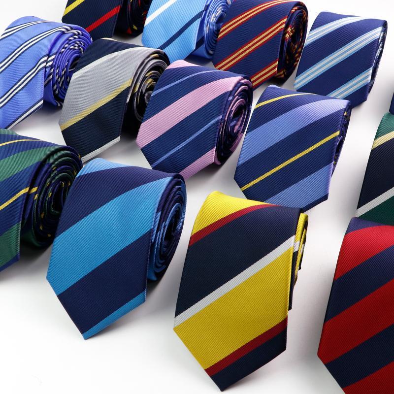 Şık erkek şerit kravat kolej tarzı kırmızı lacivert yeşil çok renkli dimi cosplay parti iş düğün trendy boyun bağları