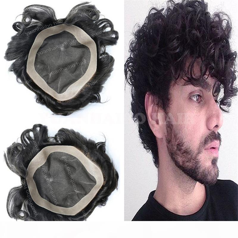 Высокое Качество Черный Цвет Малайзийская Дева Человеческие Волосы Свободная Волна Короткие Волосы Мужчины Topee Бесплатная Доставка