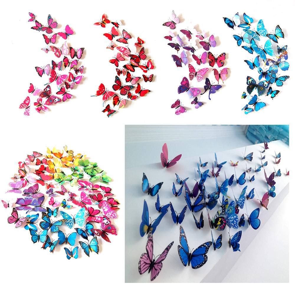 Butterfly Wall Stickers Wall Decor Murals 3D Magnet Butterflies DIY Art Decals Home Kids Rooms Decoration 12pcs/lot w-00557