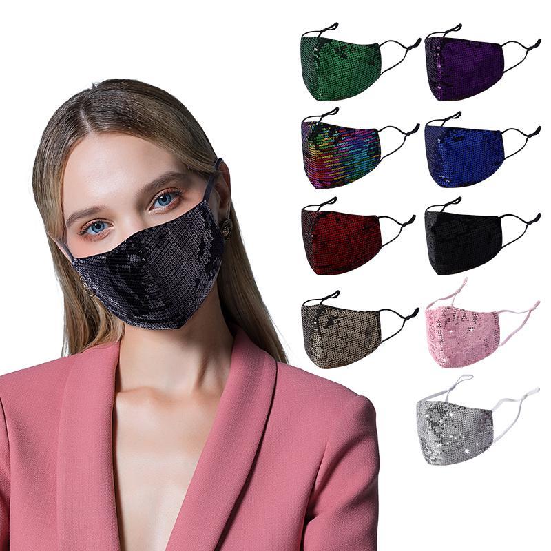 Mode Bling Bling Saisissures Masque de protection PM2.5 Masques d'embouchure anti-poussière avec filtre Poche lavable Réutilisable Femmes Masque Face Cyclisme Masque de cyclisme