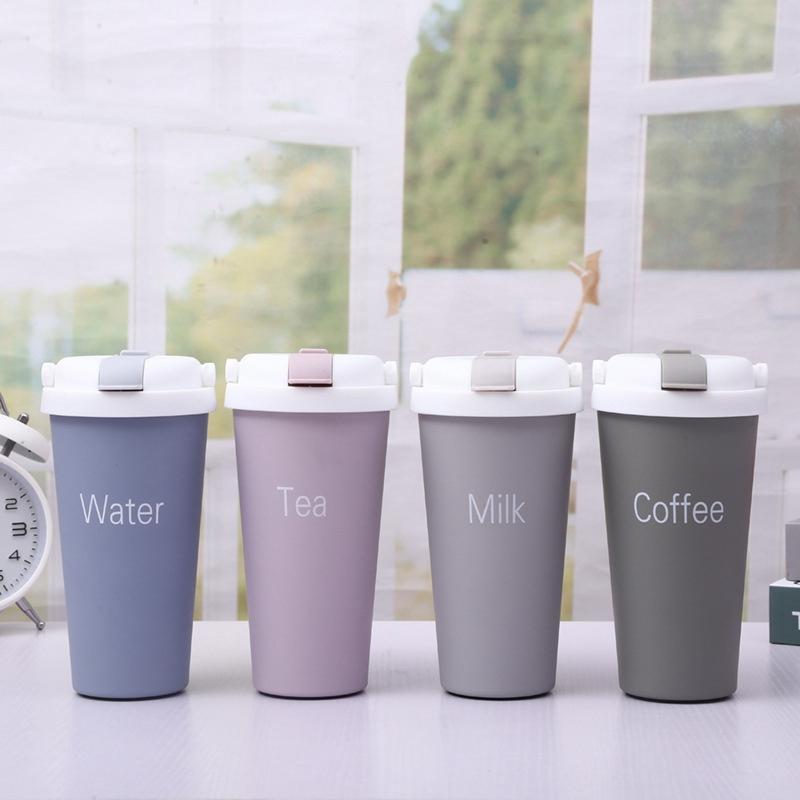 500ml Edelstahl-Vakuumflasche kreativer Strohkaffeetasse tragbare lässige Studentenschale