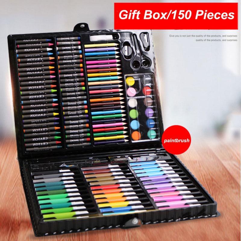 150Pcs Brush Children Pencil Set Art Painting Colored Pen Gift Set Box Kid Student Paintbrush Watercolor Brush Pen Stationery GWF3150