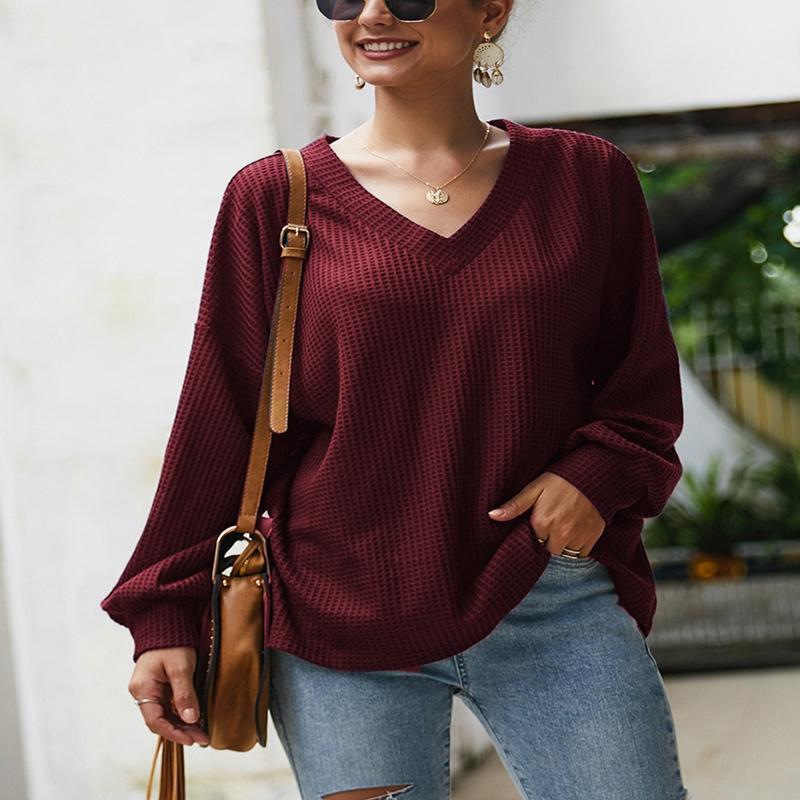 Plus size sweater outono e inverno 4xl 5xl 6xl 7xl 8xl busto 138cm moda manga comprida sexy v-pescoço lanterna manga fina camisola