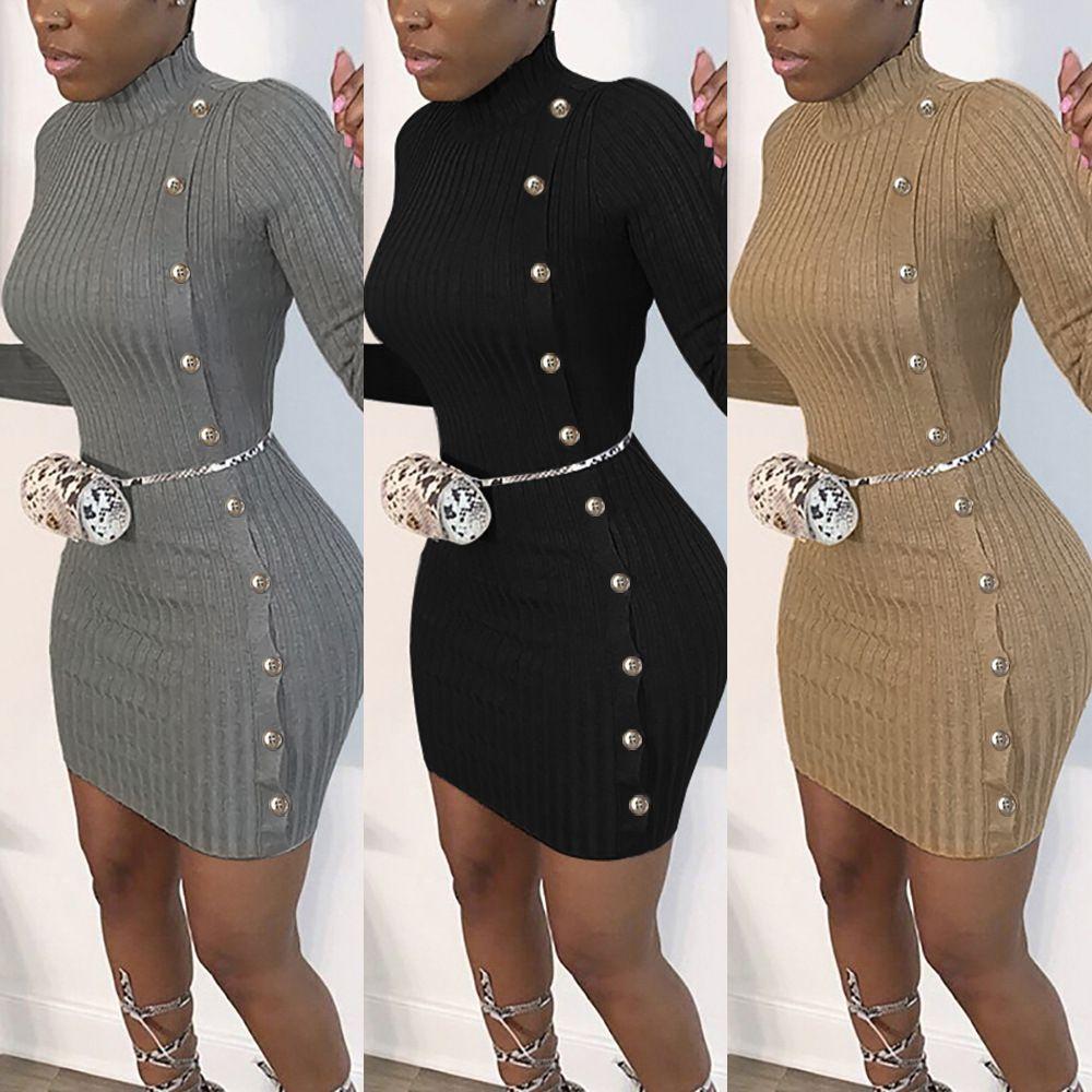 Dressini sexy da donna con stringa a bottone 2020 Nuove ragazze di moda Bodycon Sexy club Dress da maglia 3 colori