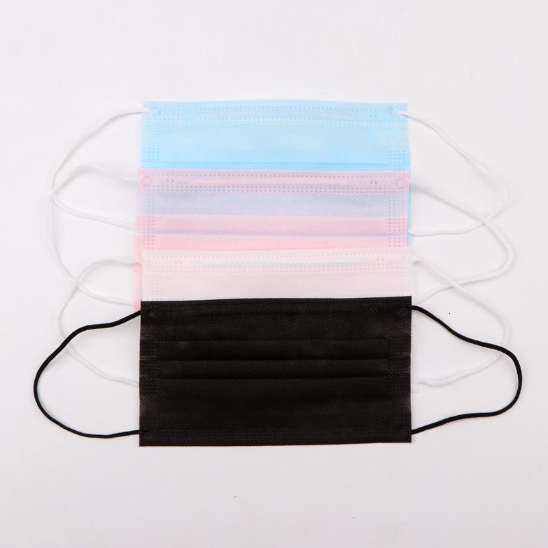 GLRRRW Stock CJNLU Polvere elastica Nero Pink Pink Air Protezione Maschere monouso Blue Pack Mask Fa 3 Loop con inquinamento orecchio traspirante in ply anqx