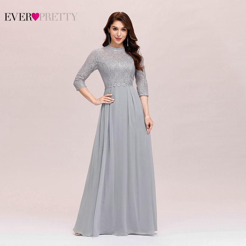 Elegant Evening Dress Chiffon Ever Pretty EP00475GY A Line Sequined Ruffles Long Dresses For Women Formal Gown For Ladies 201119