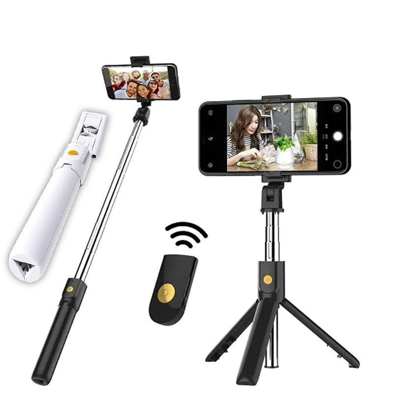 Беспроводная Bluetooth Selfie Stick Складной Мини Расширяющийся штатив Монопод с дистанционным управлением для мобильного телефона Y1128