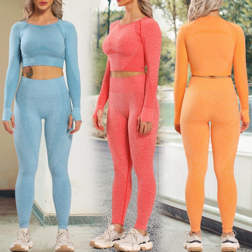 Женщины Новые бесшовные Yoga набор тренажерный зал одежда фитнес леггинсы + подрезанные рубашки спортивный костюм женщины с длинным рукавом спортивный костюм активный износ Y201015