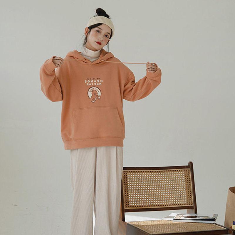 Ocashmere espessado camisola com capuz outono inverno inverno novo coreano solto e versátil colégio japonês