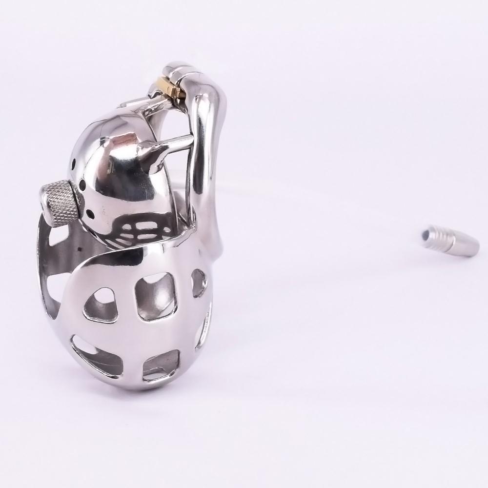 Super Small Maschio Cage Cage Cage Acciaio inox Arc Penis Anello Metallo Dispositivi di castità con manicotto scrotale Bondage Gear Tube uretrale