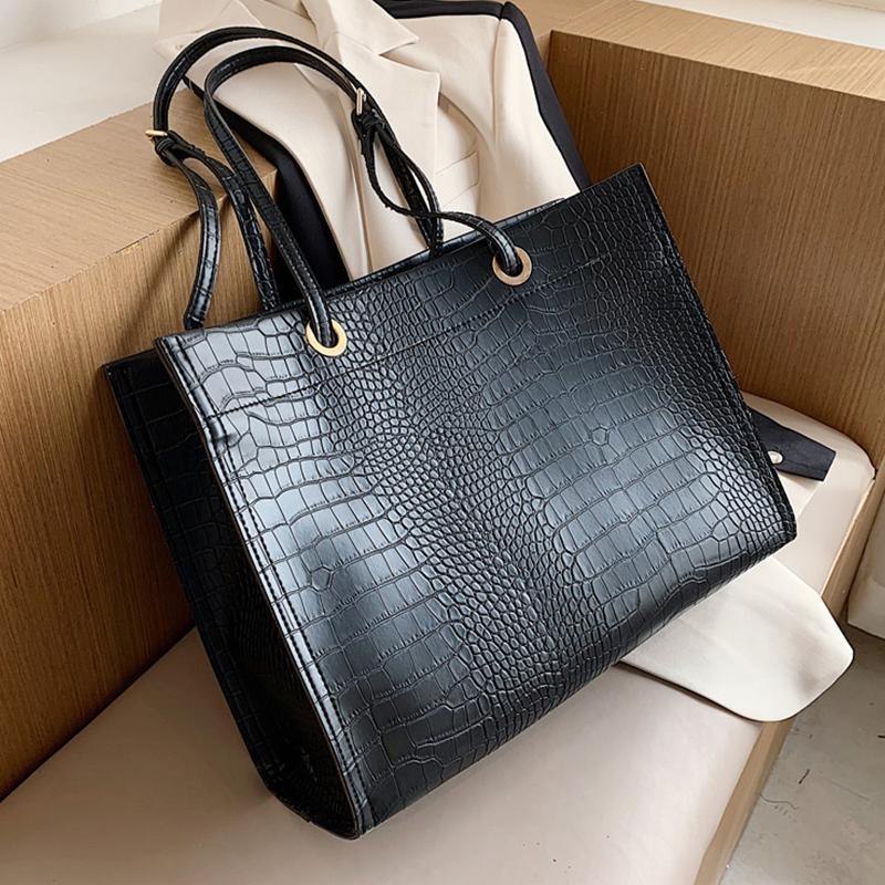 Fashion Large Capacity Tote Women's Shoulder Vintage Crocodile Pattern Women Handbag Branded Alligator Womens Bags 2020 Q1206