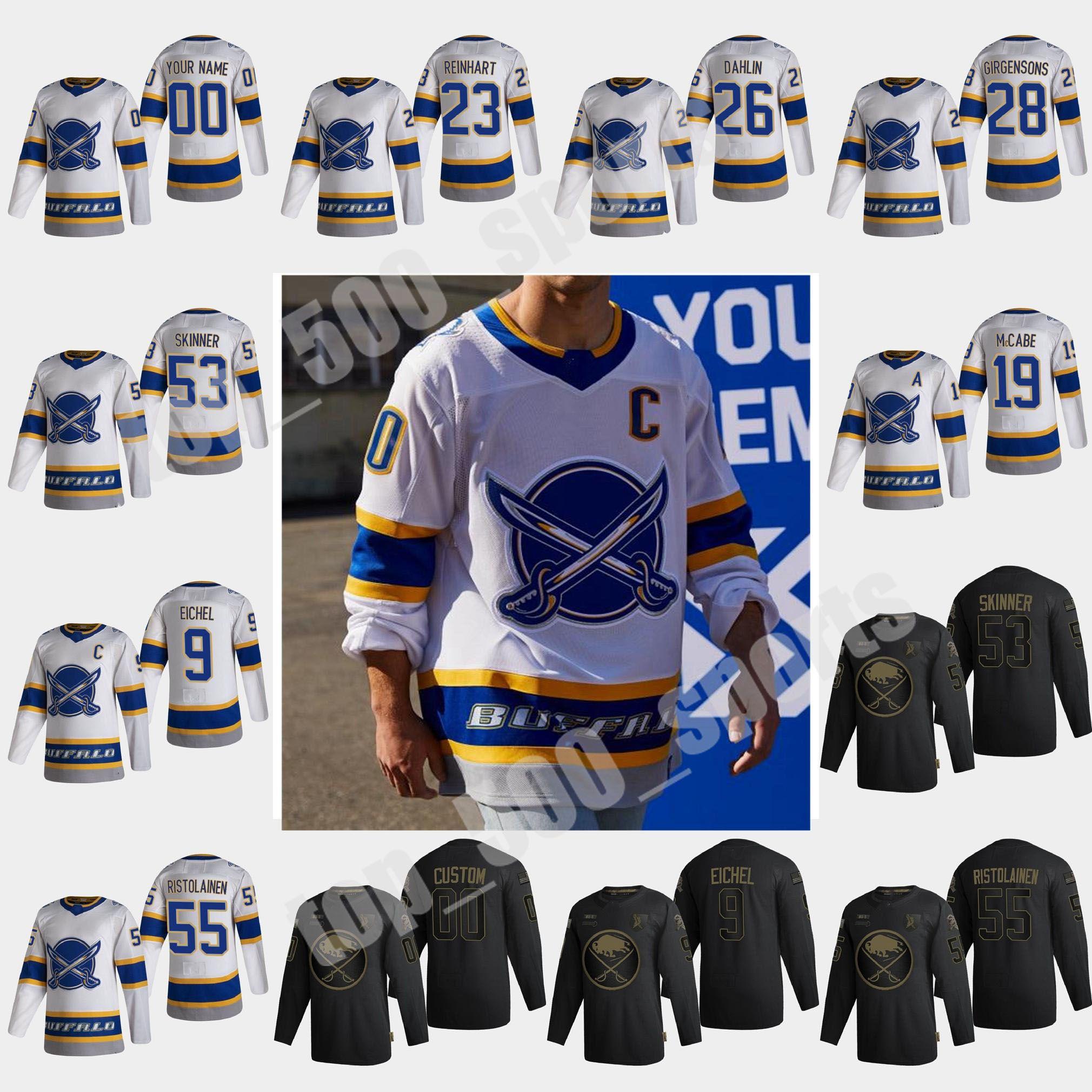 버팔로 세이버 2021 Reverse Retro Hockey Jerseys Jack Eichel Jersey Rasmus Dahlin Jeff Skinner Wayne Simmonds Sam Reinhart 사용자 정의 스티치