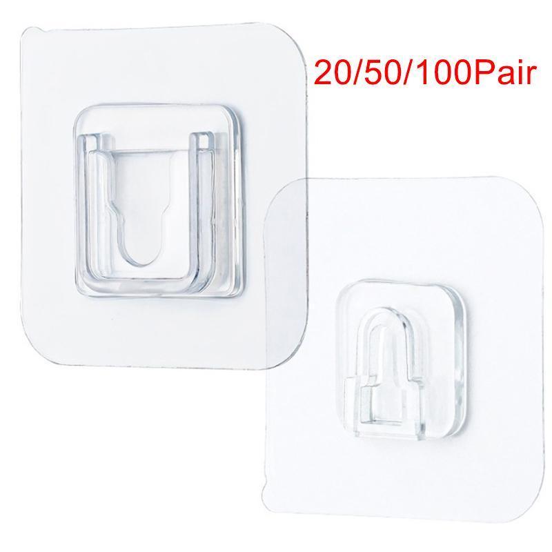100/50/20 쌍 양면 접착 벽 후크 벽 걸이 투명 흡입 컵 빨판 후크 방수 재사용 가능한 dropshipping