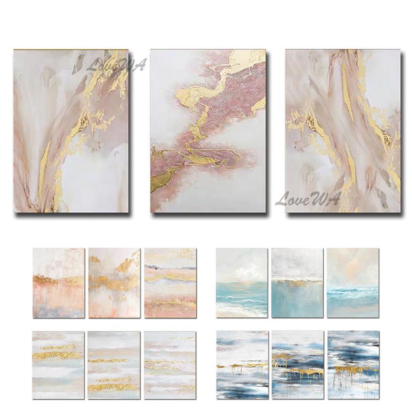 Soyut Altın Folyo Hattı Sanat Resimlerinde 100% El Yapımı Akrilik Tuval Modern Duvar Dekor Sanat Yeni Duvar Unframe Dekor Yağlıboya Z1202