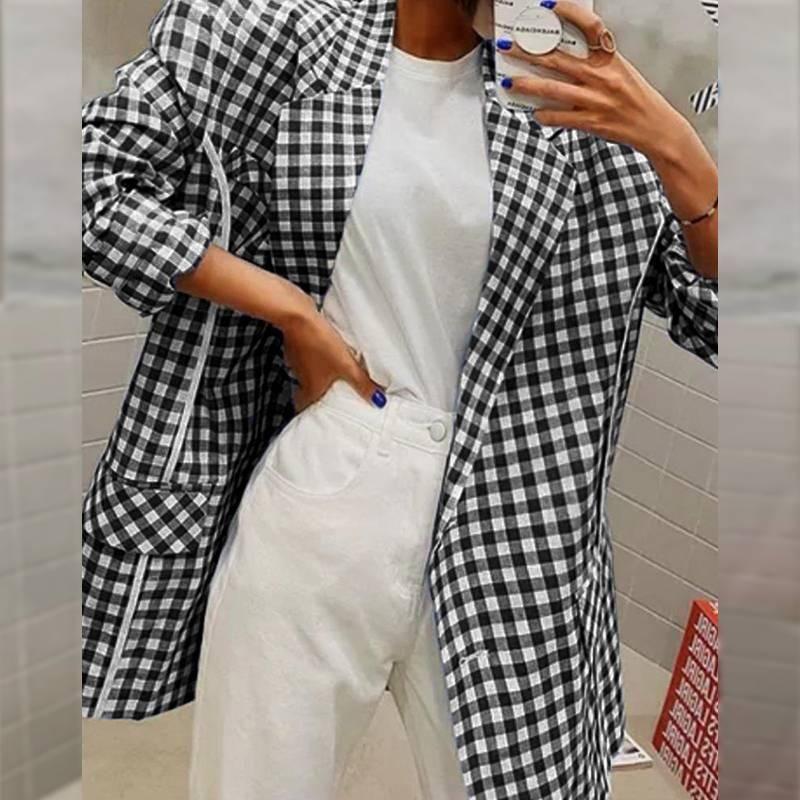 Celmia 2020 Fashion Blazer Blazer Donne controllate Plaid Vestito Business Office Blazer Casual Bottoni Cappotti formali Cappotti formali Elegante plaid Blazer