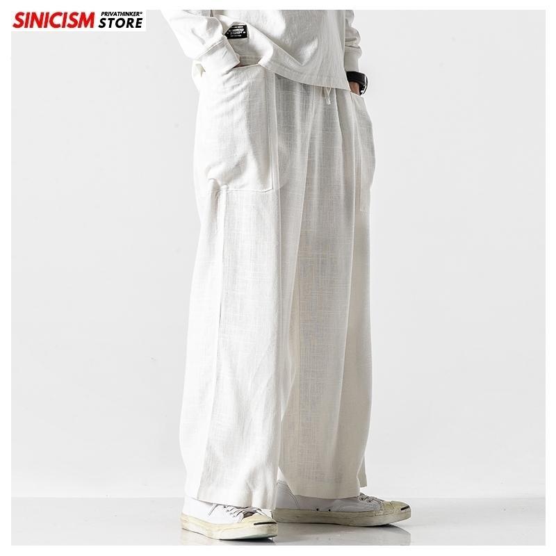 Sinisizm Mağazası Erkekler Casual Gevşek Geniş Bacak Pantolon Erkek Pamuk Keten Rahat Bloomers Pantolon Erkek Sonbahar Artı Boyutu Giyim 201109