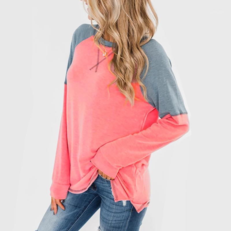 Kadınlar sonbahar kış uzun kollu gömlek moda uzun kollu yuvarlak boyun rahat ekleme gevşek pamuklu t-shirt bluz1