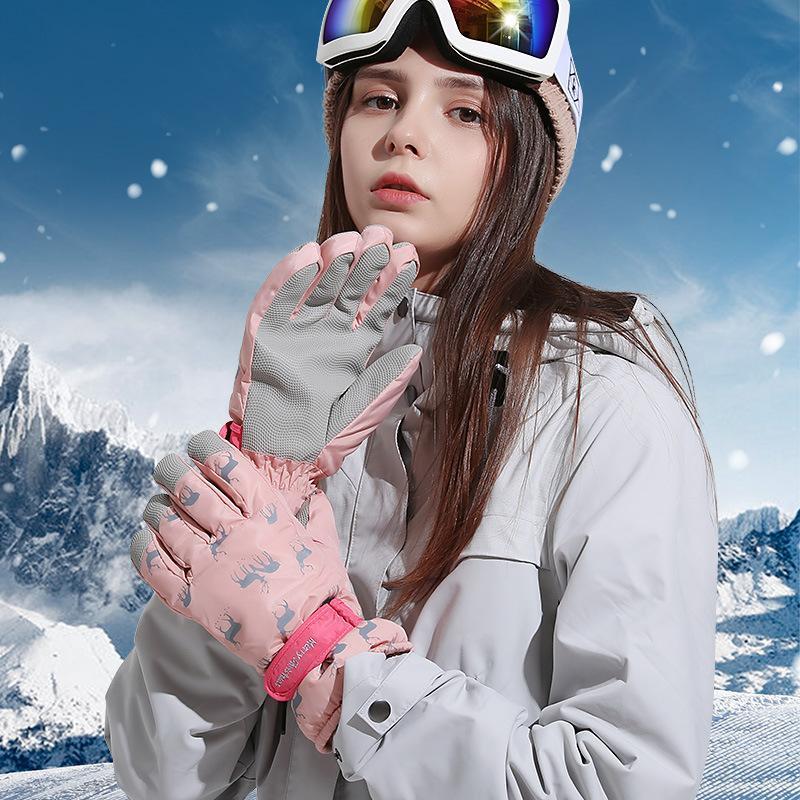Ski Gloves Winter 2021 Outdoor Sports Ladies Waterproof Windproof Plus Velvet Warm Electric Bike Riding