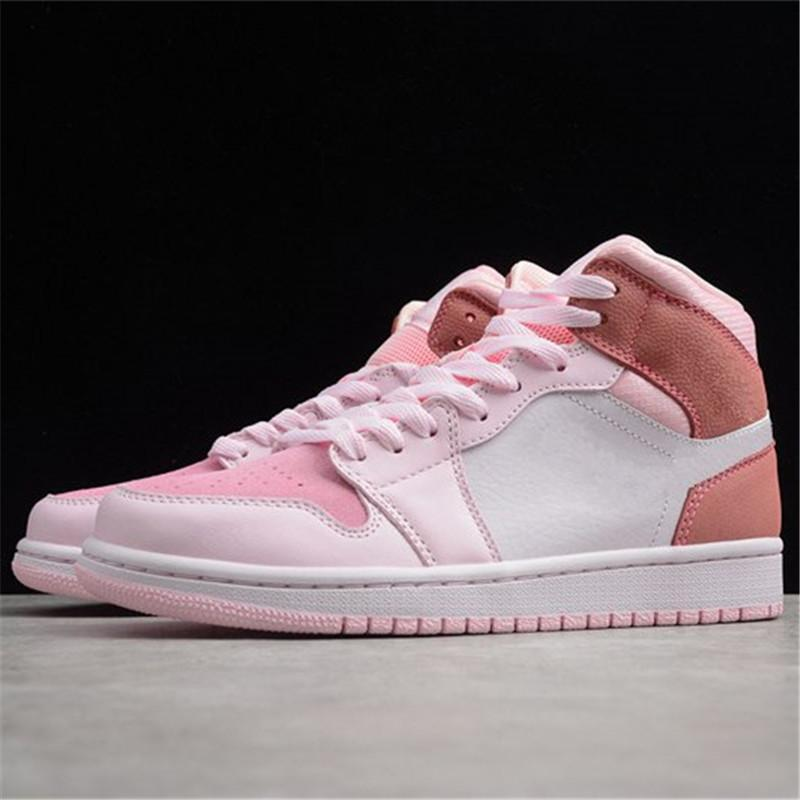 1 Mid WMNS Digital Pink 1s White Women Pink Designer Shoes Girls Pink Sports Sneakers 36-40