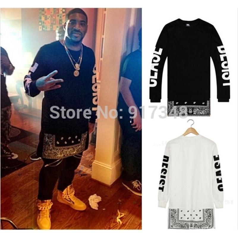 Hip Hop Tee Cease Desist T-shirt Uzun Kollu Bandana Baskı Mens T Gömlek Hi-Moda Tee ile Yan Fermuar Tasarım 201117