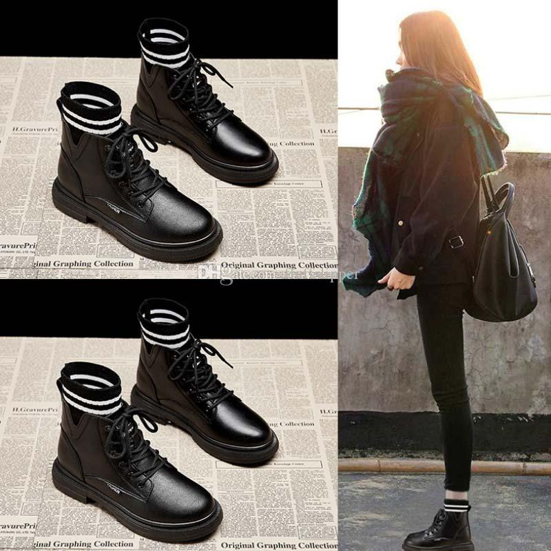 Invierno Mujeres de cuero Serie Black Fashion Casual Casual Martin Botas Martin Tubo Alto Tubo Botas de nieve Cálidas Zapatos de algodón al aire libre