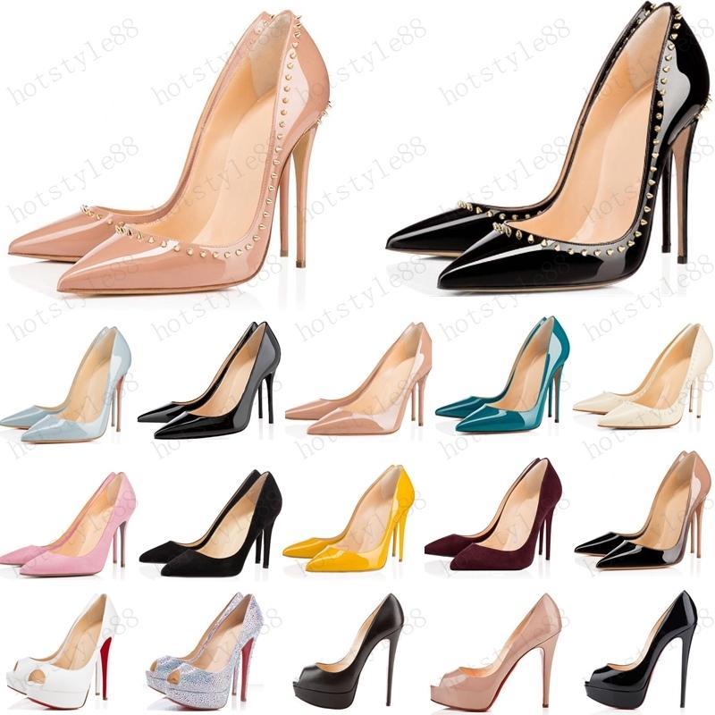 2020 sıcak kadın ayakkabı kırmızı dipleri yüksek topuklu seksi sivri burun kırmızı taban 8 cm 10 cm 12 cm pompalar logo toz torbaları düğün ayakkabı ile gel