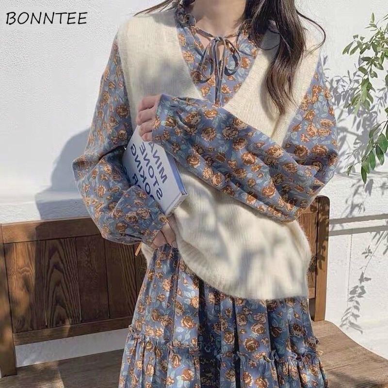 Suéter chaleco para mujer primavera otoño punto cuello en v sólido sólido suave todo-partido estudiantes simples chicas de punto elegante elegante de moda moderno