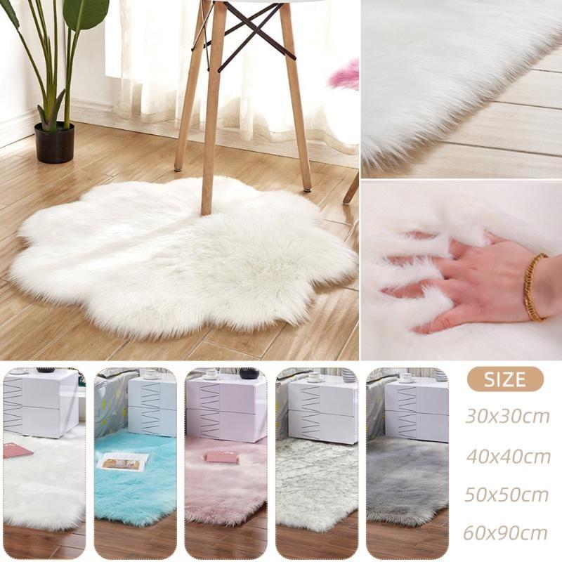 Alfombra de piel de oveja artificial Flor de acrílico suave suave mullido Dormitorio Sala de estar Piso Furry Silky Plush Tapete Mutisize