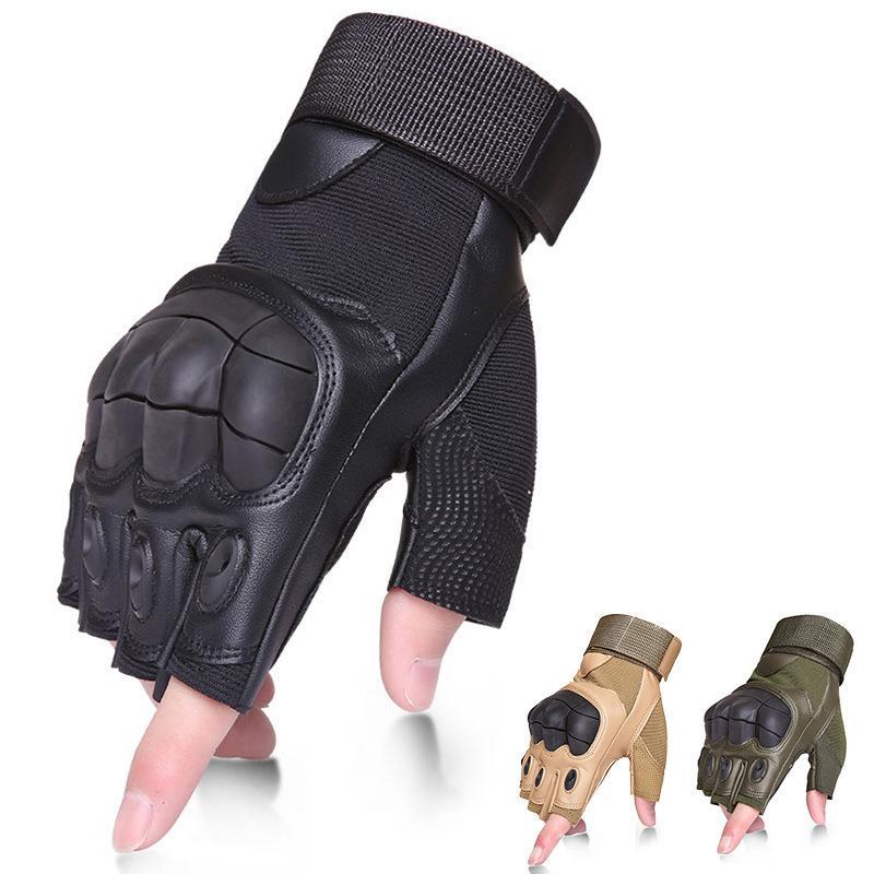 Тактические перчатки Военные Army Combat Fingerless Airsoft Стрельба передач Carbon Knuckle Half Finger Fitness натуральная кожа перчатки