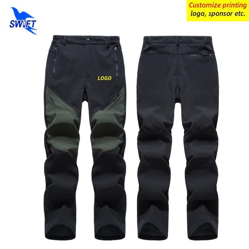 Открытые штаны настроить логотип мужской зимний флис туризм водонепроницаемые ветрозащитные бежевые брюки спортивные лыжная одежда