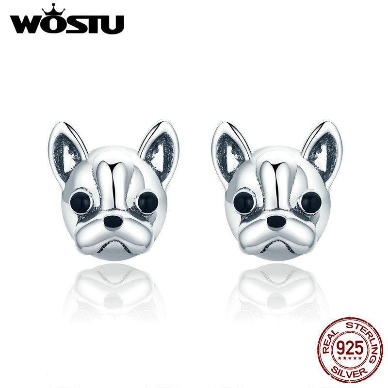 Wostu 100% 925 Sterling Silver Parceiros leais Francês Bulldog Cão Animal Pequenos Brincos Para As Mulheres Oorbellen Jóias FIE283 Y1220