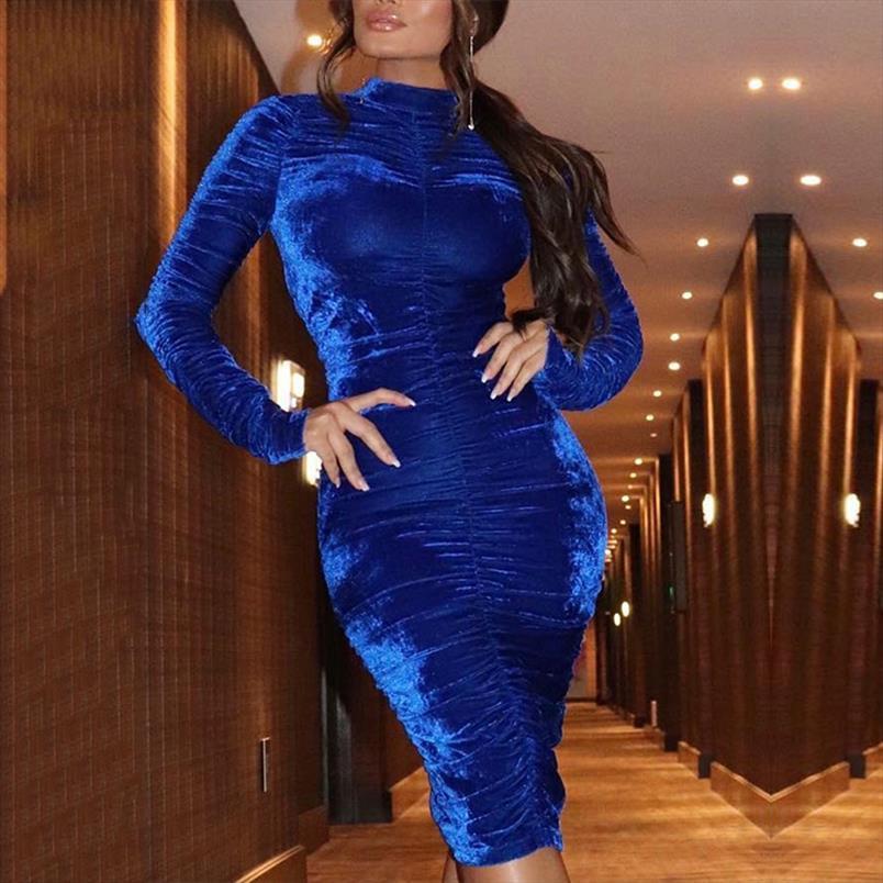 2019 Automne Velours d'hiver Ruché élégant fête de mode robes de fête de soirée de soirée dame robe à manches longues robe sexy