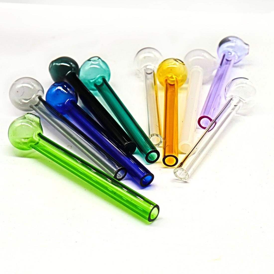 4 pollici (10 cm) Colorato Pyrex Bruciatore di olio Bruciatore di olio trasparente Bruciatore di olio di vetro Tubo di vetro Tubi di vetro Tubi di vetro Tubi Acqua Tubi ACQUA FY2305
