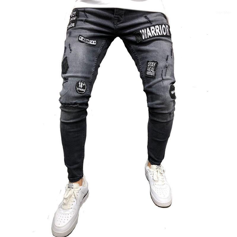 Uomo Strada Strada Casual Slim fit Elastic Stampato Biker Jeans Skinny Denim Pantaloni lunghi con Pantaloni RIPE di cotone MODIS MODIS HIP HOP1