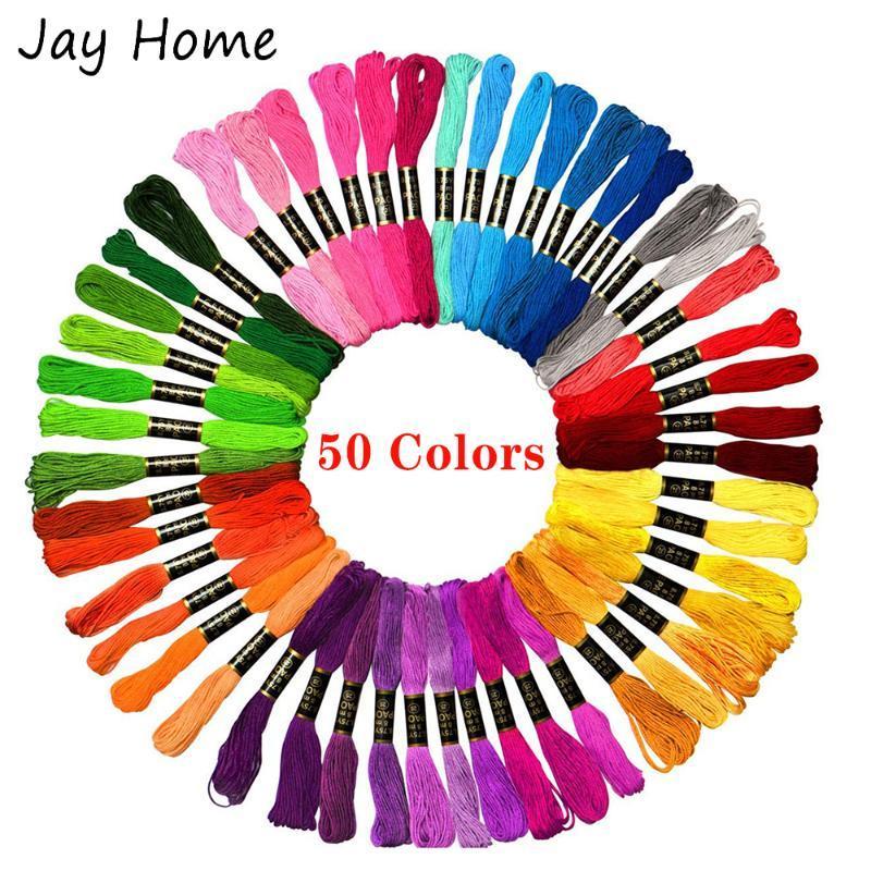 50Pcs filo da ricamo punto croce Discussione colore dell'arcobaleno Amicizia Bracciali Strings fai da te Crafts Filo Accessori di cucito