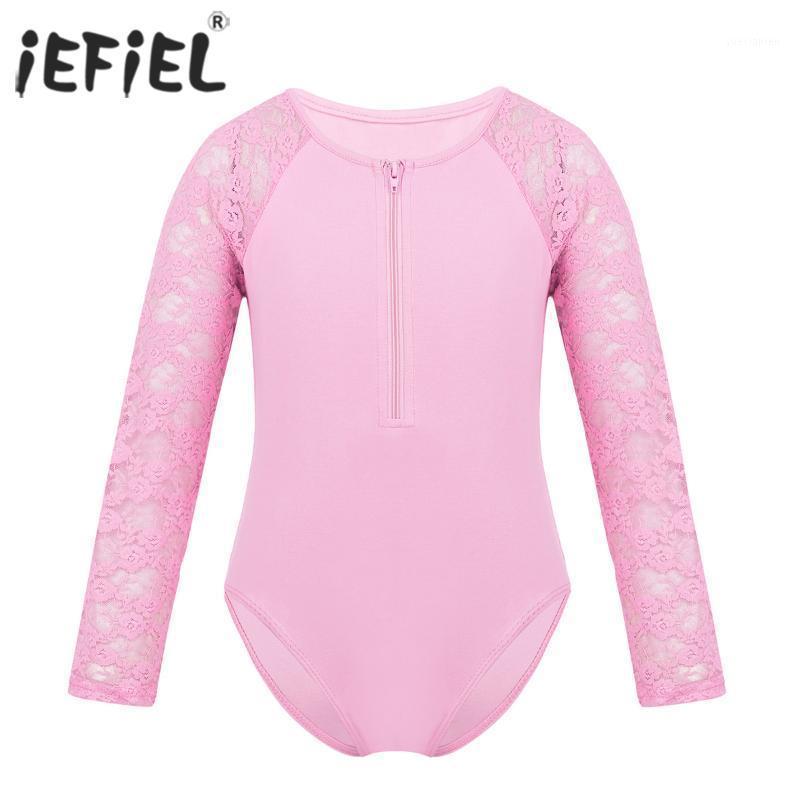 Iefiel Girls Tutu Spitze Tanz lyrische Kostüme Reißverschluss Ballerina Tanzen Bodysuit Gymnastik Trikot für Kinder Dancewear1