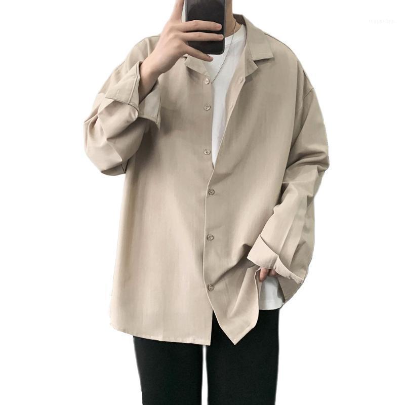 Neue massivfarbige Männer langärmeliges Hemdmode beiläufige lose Baumwolljacke trendy Revers Single-Breasted Jacket1