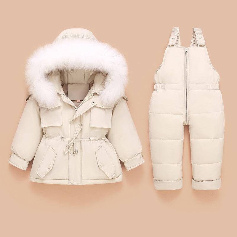 Kinder unten Jacken Kind-Kleinkind-Overall-Baby-Jungen-Kleidung Winter-Outfit Snowsuit Overalls 2 Stück Kleidung Sets Y1113