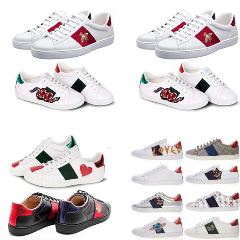 2021 Классические мужчины женщины повседневная обувь тренажеры Python Love Вышитые белые кожаные повседневные туфли высочайшего качества с коробкой