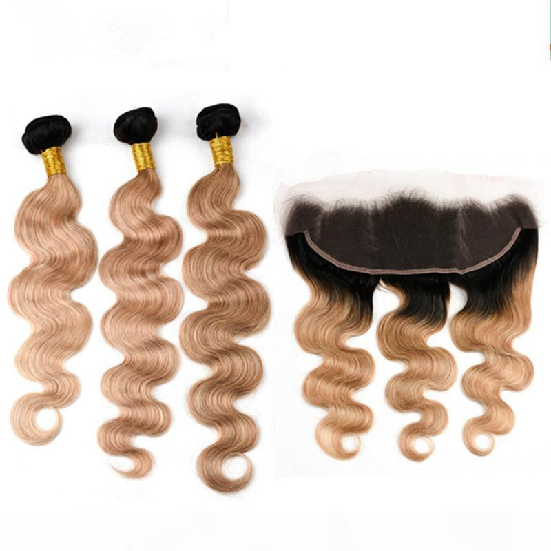 Body Wave #1B 27 Light Brown Ombre Indian Virgin Human Hair 3Bundles with Frontal Honey Blonde Ombre 13x4 Lace Frontal Closure with Weaves