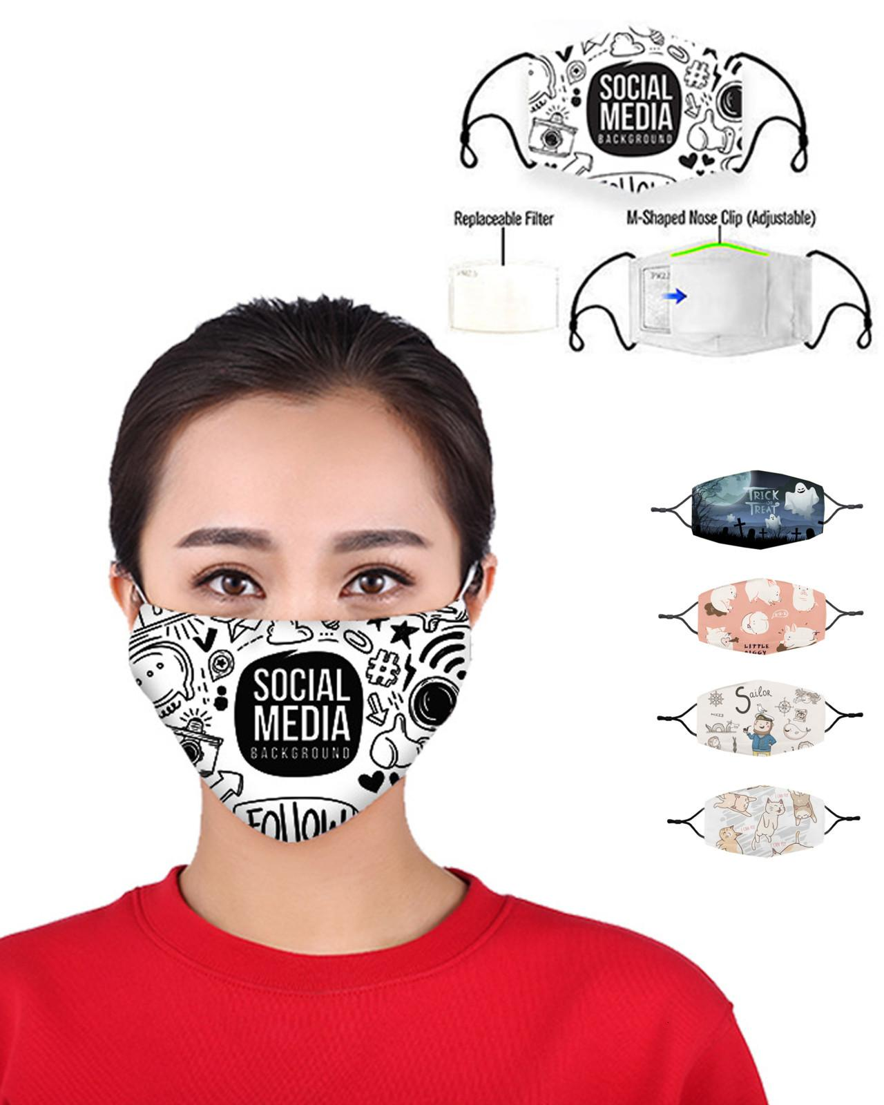 Boca Anti Impresión Máscaras Máscara Dolvo transpirable Lavable Lavable Máscaras Animales Mascarilla Cara con Máscara de Diseñador Filtro UFTR