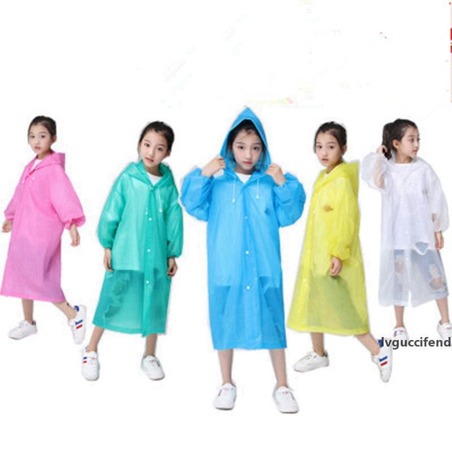 Sudaderas con capucha para niños Abrigos de lluvia EVA Transparente Impermeable Viaje Debe Poncho Impermeable Emergencia Desechable Laverwear Ropa protectora RRA3080